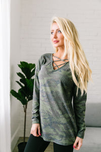 Criss Cross V Camo Top