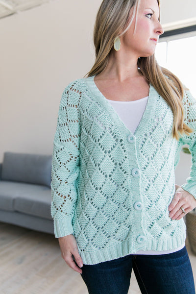 Delilah Diamond Knit Cardi In Mint