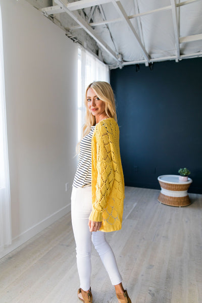Delilah Diamond Knit Cardi In Yellow