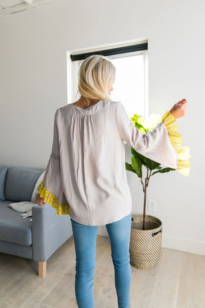 Divine Details Top In Taupe + Yellow