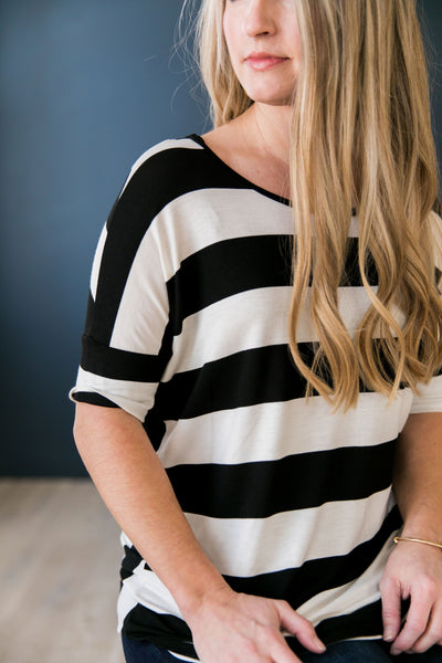 Don't Look Back Striped Top In Black