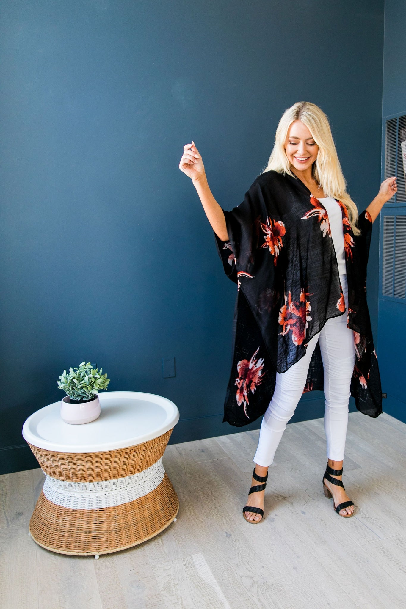 Flowing Floral Kimono in Black