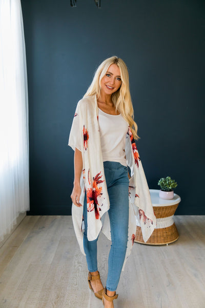 Flowing Floral Kimono in Ivory