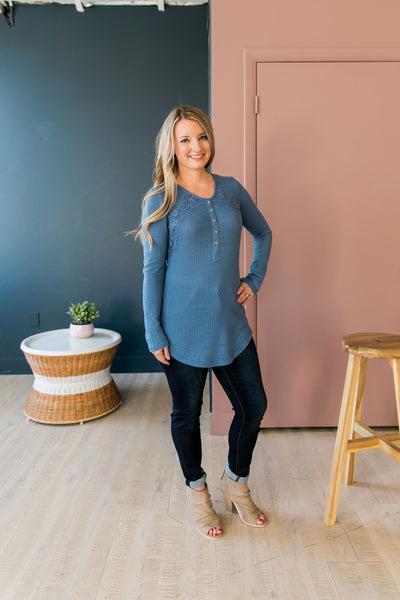 Heidi Lace Trimmed Henley In Denim