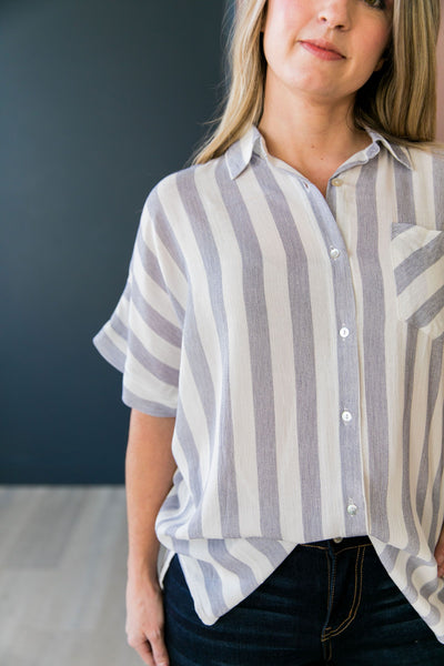 Katelynn Striped High-Low Button-Down