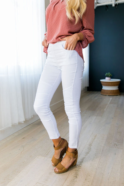 Moto Jeggings In White