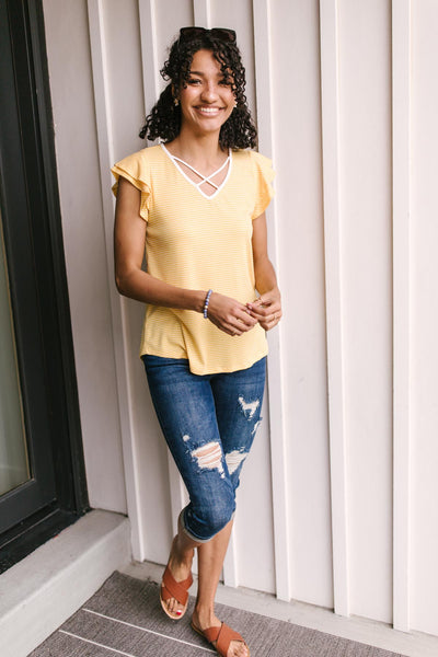 Out of Town Top in Yellow
