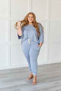 Lazy Weekend French Terry Top- Blue