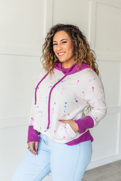 It's Go Time Paint Splatter Hooded Top- Pink