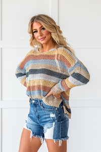 Sunshine And Rainbows Striped Sweater-Mustard