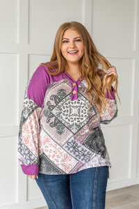 She's Unique Bandana Print Top- Purple
