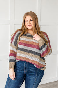 Sunshine And Rainbows Striped Sweater-Burgundy