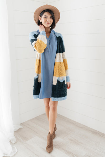 Sheer and Classic Cardigan in Blue
