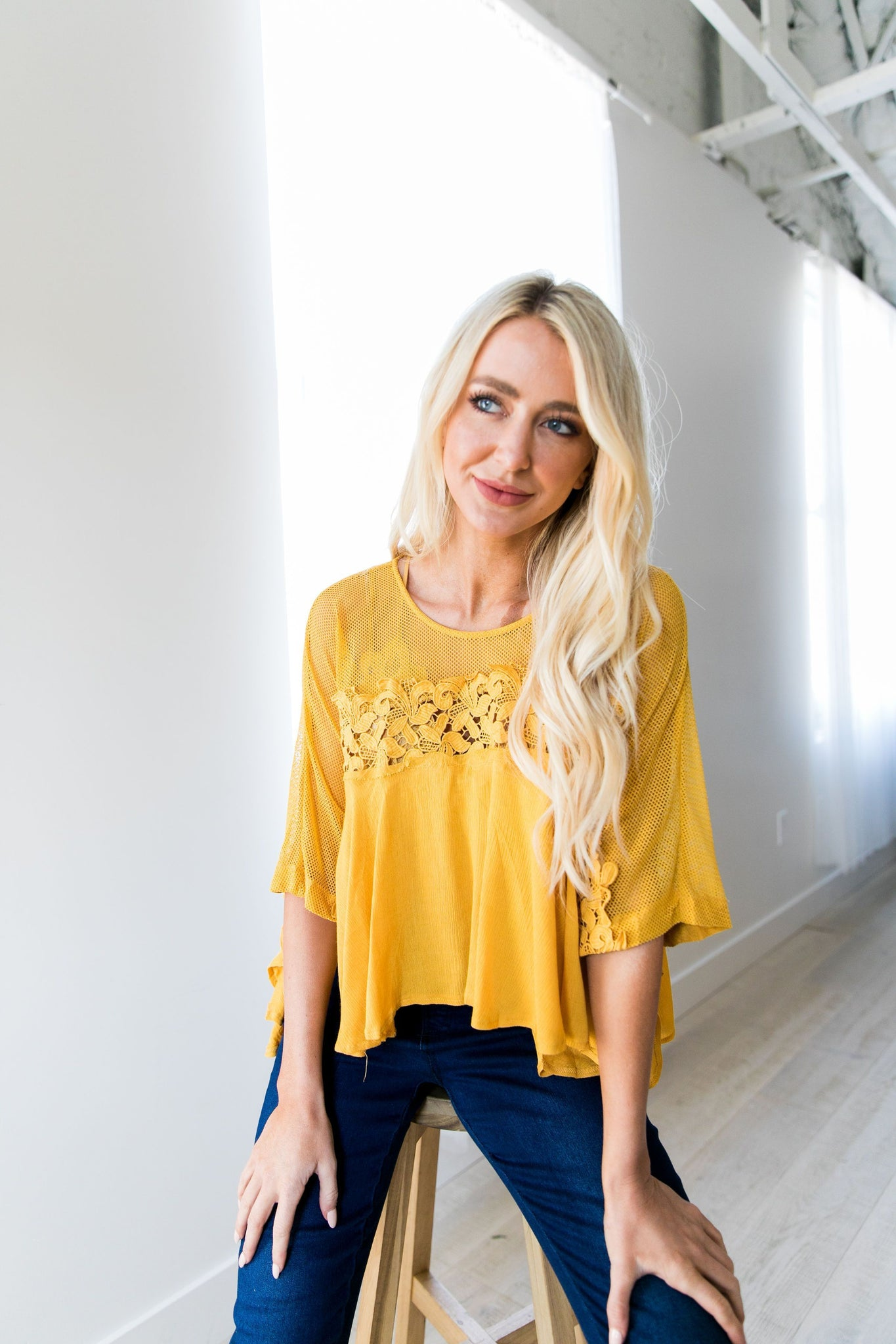Sweet As Honey Mesh + Lace Blouse