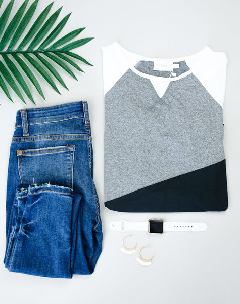 Unbalanced Colorblock Top In Black