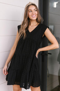 Warm Wishes Eyelet Dress in Black