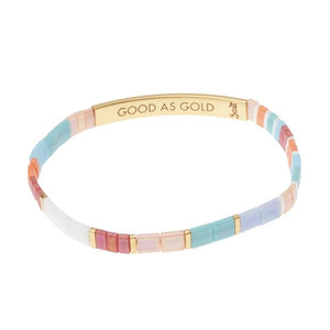 Good As Gold Miyuki Bracelet- Aqua multi/Gold