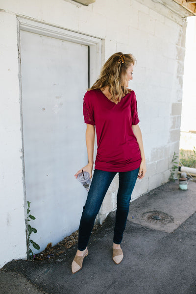 Armed With Lace Top In Burgundy