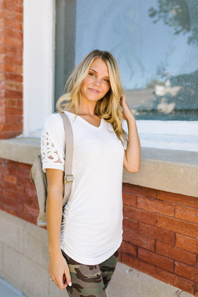 Armed With Lace Top In Ivory