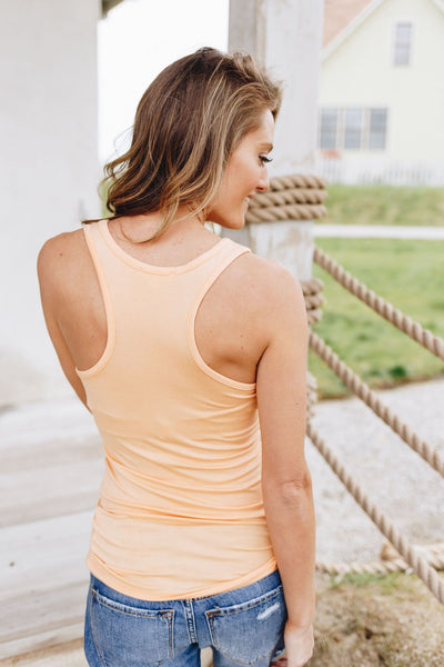 Basic Scoop Neck Tank In Creamsicle