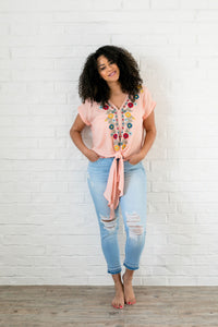 Bright Floral Embroidered Top
