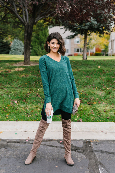 Brushed Melange V-Neck Sweater In Hunter Green
