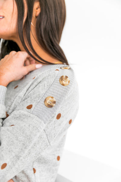 Buttons + Polka Dots Sweater