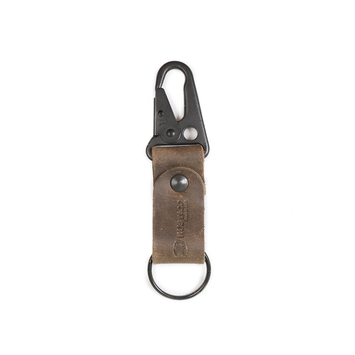 Clip Dark Brown Leather Key Chain