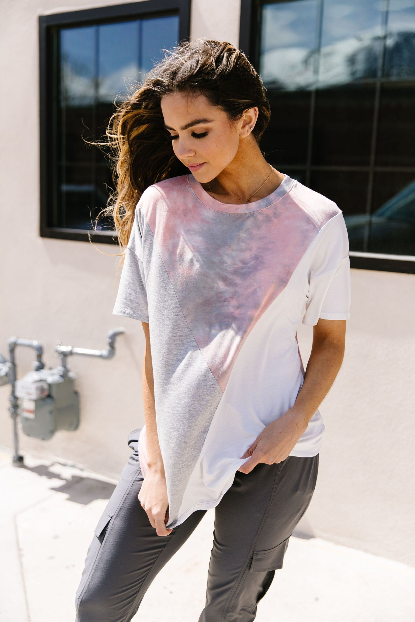 Cool Slice Of Tie Dye Top In Gray