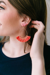 Coral Tassel Hoop Earrings
