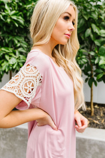 Crocheted Lace Sleeve Top