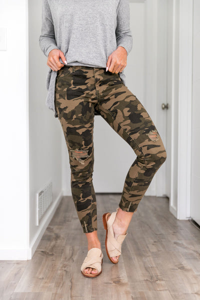Distressed Mid Rise Camo Jeans