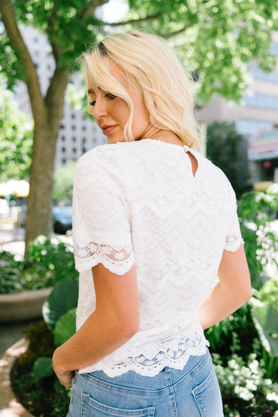 Downton Abby Scalloped Lace Blouse