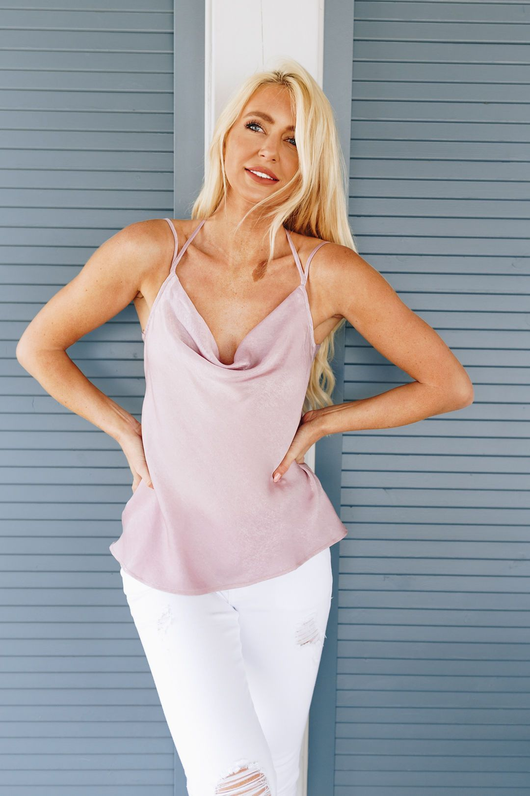 Draped Neck Satin Cami In Lilac