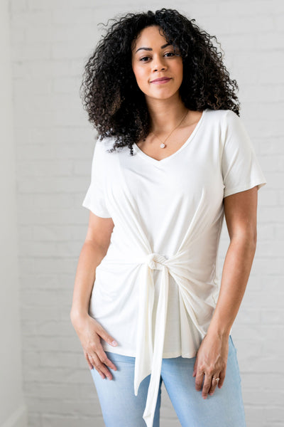 Draped Tie Front Top In Ivory