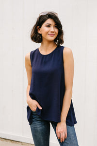 Easy Come Easy Go Sleeveless Blouse In Navy