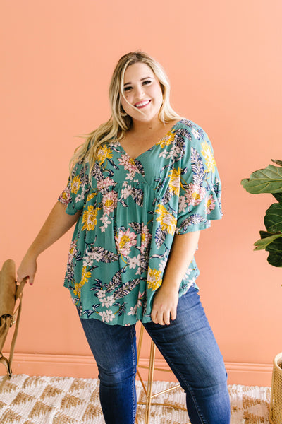 Feel The Teal Floral Blouse - 6/2/2020