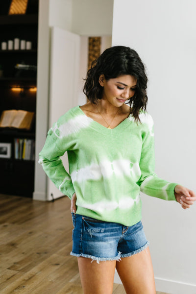 Fit To Be Tie Dyed Sweater In Lime