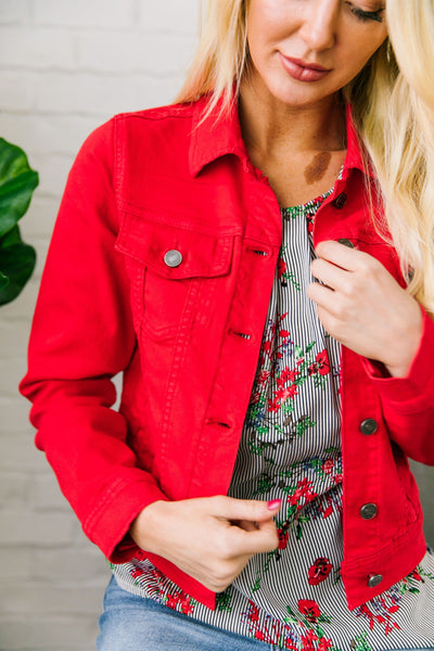 Happy Day Red Denim Jacket