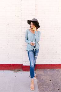 Heathered Teal Tie Front Top