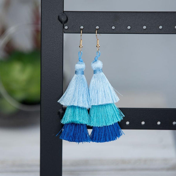 Multi Colored Tiered Tassel Earrings
