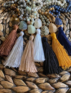 Beaded Stone Tassel Necklace