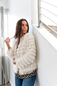 Ivory Layered Fuzzy Jacket