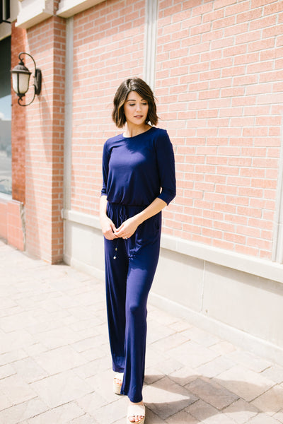Jump For Joy Navy Jumpsuit