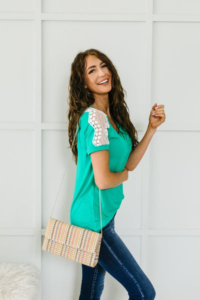 Lace Up The Sleeve Top In Green - 6/2/2020