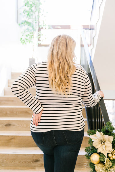 Layer Away Striped Turtleneck In Ivory