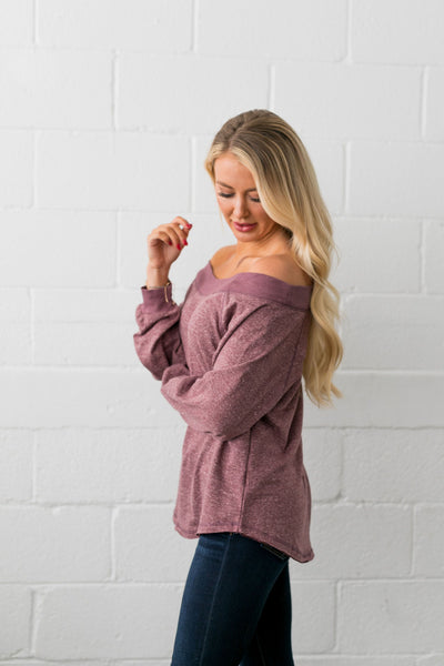 Monica Off The Shoulder Top In Heathered Mauve - ALL SALES FINAL
