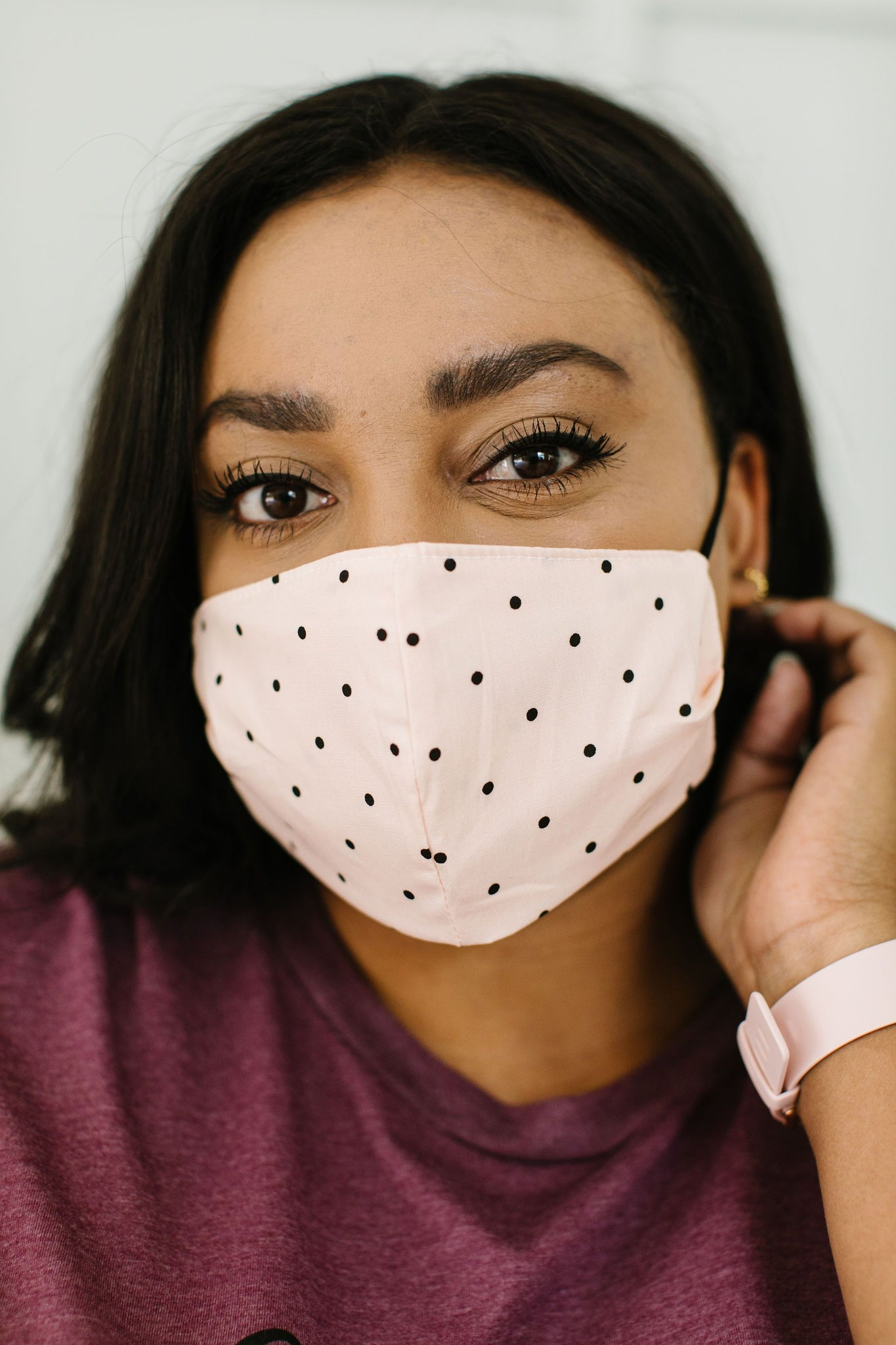 Mum's The Word Mask In Blush Polka Dots With Replaceable Filter