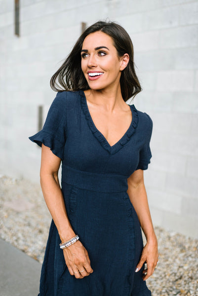 Navy Ruffled Dress