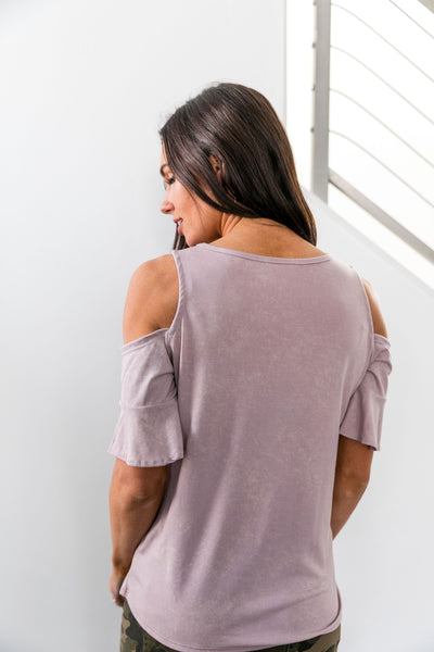 Partly Cloudy Cold Shoulder Top In Blush - ALL SALES FINAL